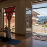Yoga studio in Kathmandu overlooking the city and the Himalayas